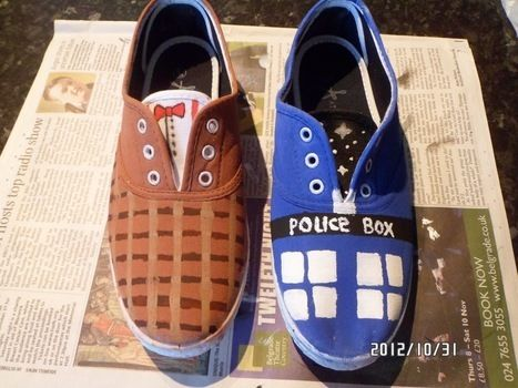 One shoe painted like the TARDIS and the other like the 11th Doctor's outfit :) .  Free tutorial with pictures on how to paint a pair of character shoes in under 120 minutes by decorating and embellishing with acrylic paint, acrylic paint, and acrylic paint. Inspired by halloween, costumes & cosplay, and clothes & accessories. How To posted by Katie C. Difficulty: Easy. Cost: 3/5. Steps: 7