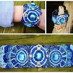 Bead Embroidery Bracelet In Blue