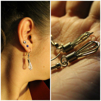 Perfect for the baker or chef in your life! .  Free tutorial with pictures on how to make an earring in under 20 minutes using hot glue gun, earring hooks, and paperclip. Inspired by kitchen, cooking mama, and cookies. How To posted by Mousey. Difficulty: Easy. Cost: No cost. Steps: 4