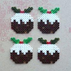 Hama Bead Christmas Pudding Cards