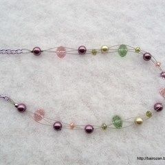 Pink & Green Pearls&Crystals Necklaces