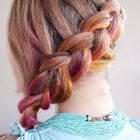 Square small hair romance   pink side braid hairstyle 3