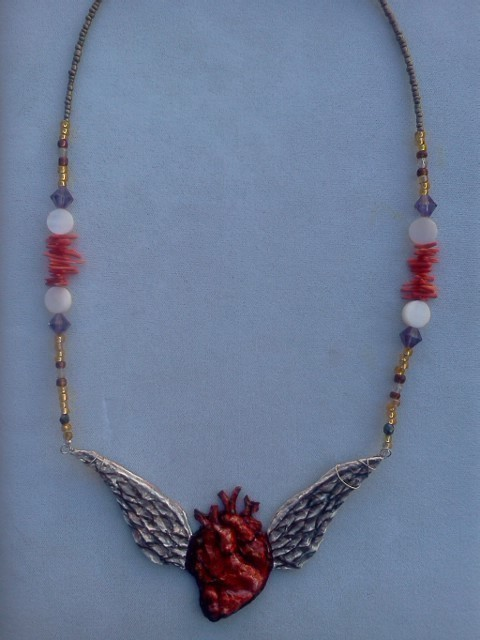 Papier mache pendant freedom to love how to make a wing for How to make paper mache jewelry