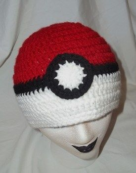 Pokeball Inspired Beanie  .  Make a beanie in under 60 minutes by crocheting with crochet hook and worsted weight yarn. Inspired by gifts, halloween, and fun & games. Creation posted by Rachell S. Difficulty: Simple. Cost: Cheap.