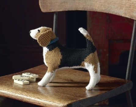 The Beagle is a neat little dog, so make yours stand up very straight, with the tail bending over slightly. .  Free tutorial with pictures on how to make a dog plushie in 12 steps by knitting with yarn, knitting needles, and wool. Inspired by dogs. How To posted by Black Dog Publishing. Difficulty: 3/5. Cost: Cheap.