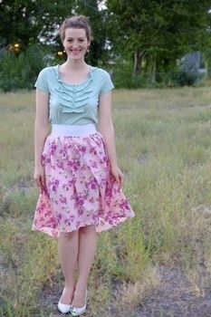 How to make a trendy high low skirt with subtle length variation. .  Free tutorial with pictures on how to sew a hand sewn skirt in under 50 minutes by dressmaking and machine sewing with fabric. How To posted by Disney P. Difficulty: Easy. Cost: Cheap. Steps: 8