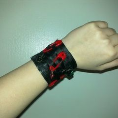Leather And Ribbon Cuff <3