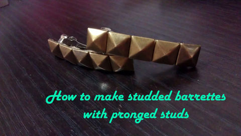 Love studs? Here's a DIY for you to try:) .  Free tutorial with pictures on how to make a metal hair clip in under 10 minutes by studding and studding with felt, hot glue gun, and barrette. Inspired by gothic, steampunk, and clothes & accessories. How To posted by Rebecca L. Difficulty: Simple. Cost: Absolutley free. Steps: 2