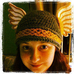 Valkyries, Let's Ride! .  Make a beanie by crocheting with felt, worsted weight yarn, and worsted weight yarn. Inspired by halloween, costumes & cosplay, and people. Creation posted by Rachell S. Difficulty: 4/5. Cost: 3/5.