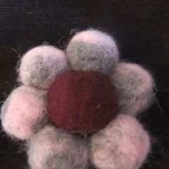 Felt Ball Flower Brooch