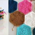 Square small full crochet hexagon tutorial