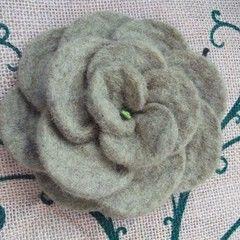 Green Felt Rose