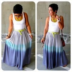 Ombre Dyed Maxi Skirt