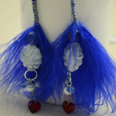 Diy Feather Earrings Feather'S Blue Combined With Pearl'S Pure White