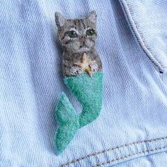 Mer Cat Brooch