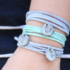 Stamped Clay Bead Bracelets