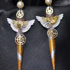 Steampunk Nailart Dangle Earrings