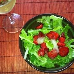 Sweet Mint Strawberry Salad With Iced Lemon Dressing