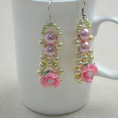 Diy Beaded Earrings  Pearl And Rose Earring Diy