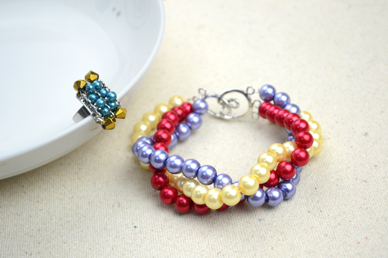 Handmade Beaded Jewelry Designs Simple Pearl Bracelet And Ring Set