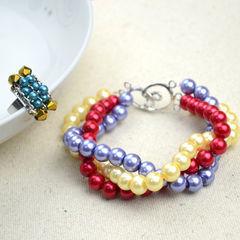 Handmade Beaded Jewelry Designs Simple Pearl Bracelet And Ring Set