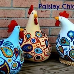 Diy Paisley Chickens Made From Gourds