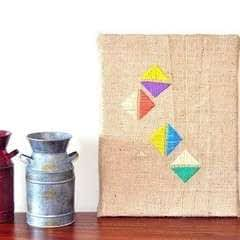 Geometric Stitching On Burlap