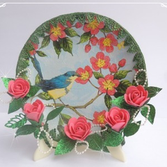 Christmas Ornament : Decoupaged Plate With Foam Roses