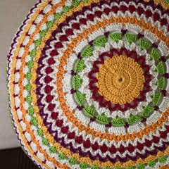Circle Crochet Pillow