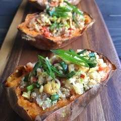 Sweet Potato Skins Stuffed With Thai Quinoa