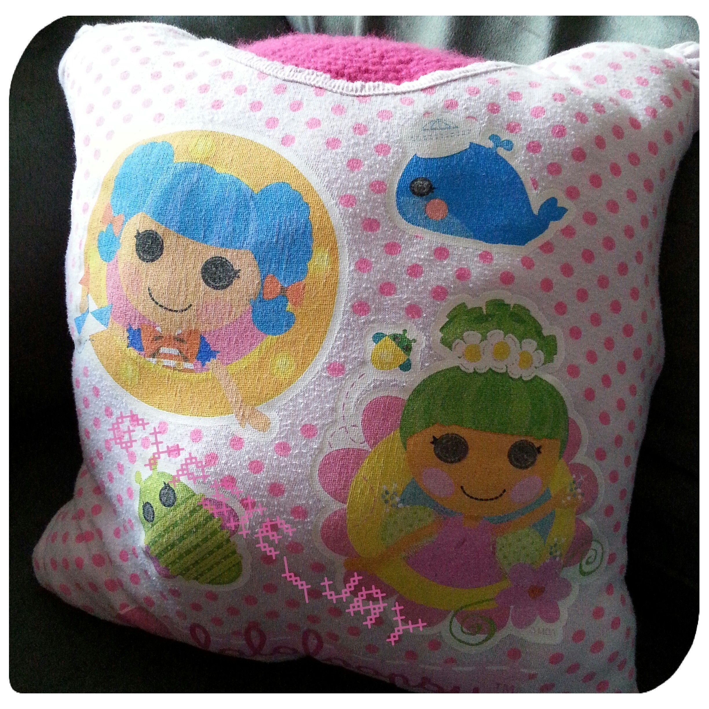 Lalaloopsy T Shirt Pillow ? A Recycled Cushion ? Sewing on Cut Out + Keep
