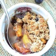 Individual Blueberry Peach Crisps {Paleo}