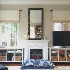 "Family Room ""Built Ins"" With Marble Fireplace Surround"