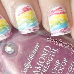 Rainbow Spun Sugar Nail Art