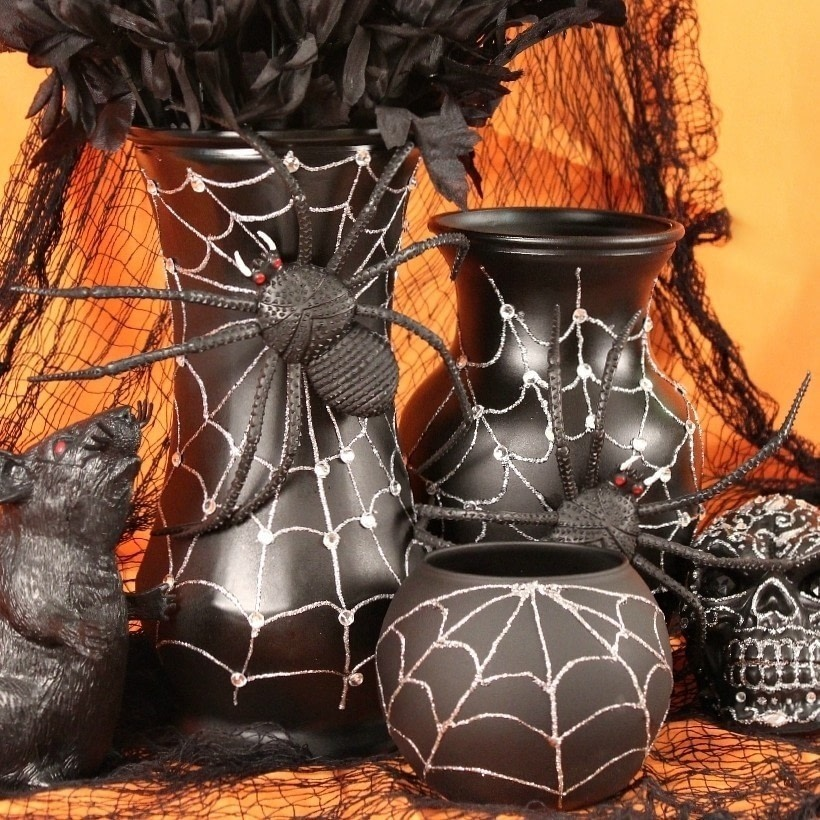 spider web vases how to make a halloween decoration