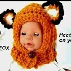 Crochet Pattern, Little Fox Hood, Newborn   3 Months