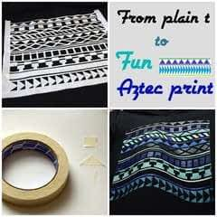 T Shirt Aztec Pattern With Maskingtape