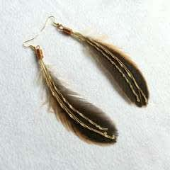 Elegant Feather And Chain Ear Hooks