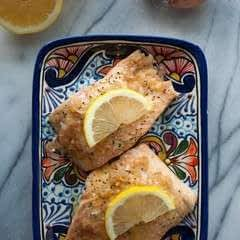 Baked Salmon With A Lemon Shallot Butter Sauce