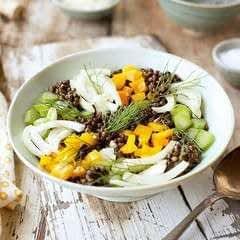 Black Lentil Fennel Salad And Tangerine Champagne Vinaigrette