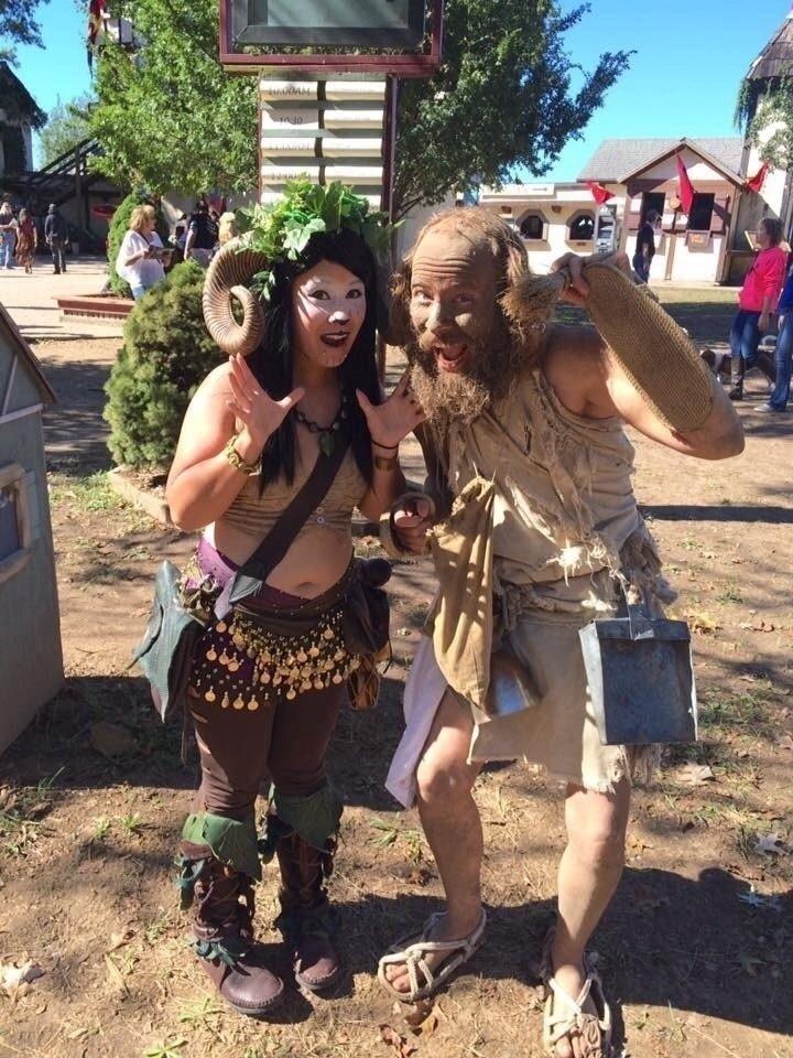 Fae Nettle Satyr Costume Faun Makeup Ram Horns