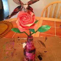 Origami Butterfly Resting On Kawasaki Rose In A Decoupage Bottle