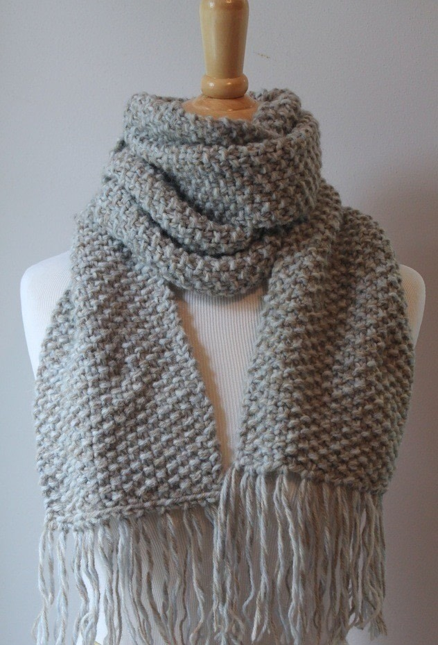 Knitted Scarf Pattern Books : Elegant Seed Stitch Scarf Knitting Pattern ? How To Make A Knit Scarf / Croch...