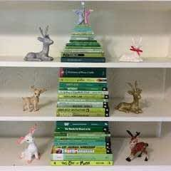 Stack Of Green Books Makes A Fun Christmas Tree