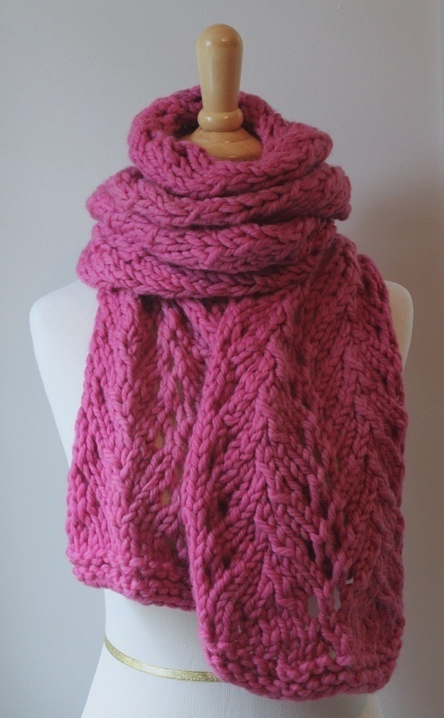 Scarf Knitting Patterns Bulky Yarn : Knit Scarf Pattern ? How To Knit A Lace Knit Scarf ? Yarncraft on Cut Out + Keep