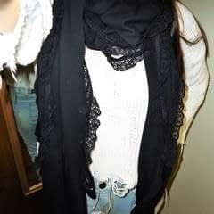 Black Scrap Scarf With Lace Trim