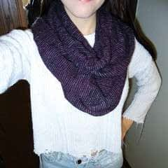 Purple Scarf Made From Inside Out Sweater