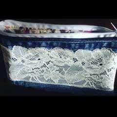 Lace Denim Makeup Bag   (Old Jeans)