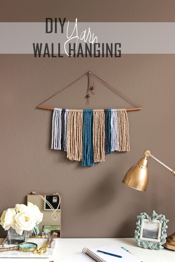 Diy Copper Pipe & Yarn Wall Hanging · How To Make A Yarn Wall Hanging ...
