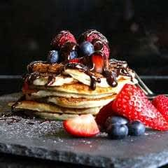 Vanilla Buttermilk Pancakes (Gluten Free) with Home-Made Chocolate Sauce